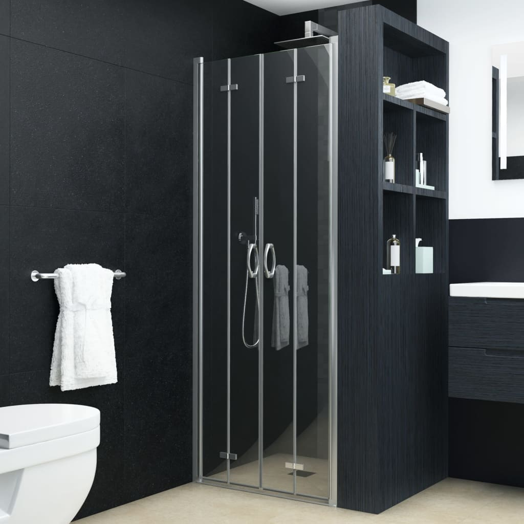 vidaXL Dvojkrídlové sprchové dvere priehľadné ESG 90x185 cm