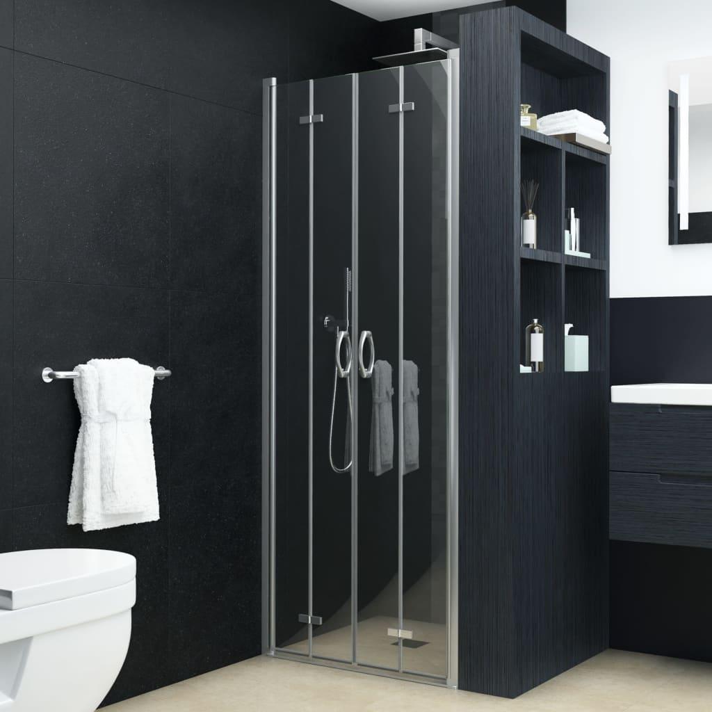 vidaXL Dvojkrídlové sprchové dvere priehľadné ESG 95x185 cm