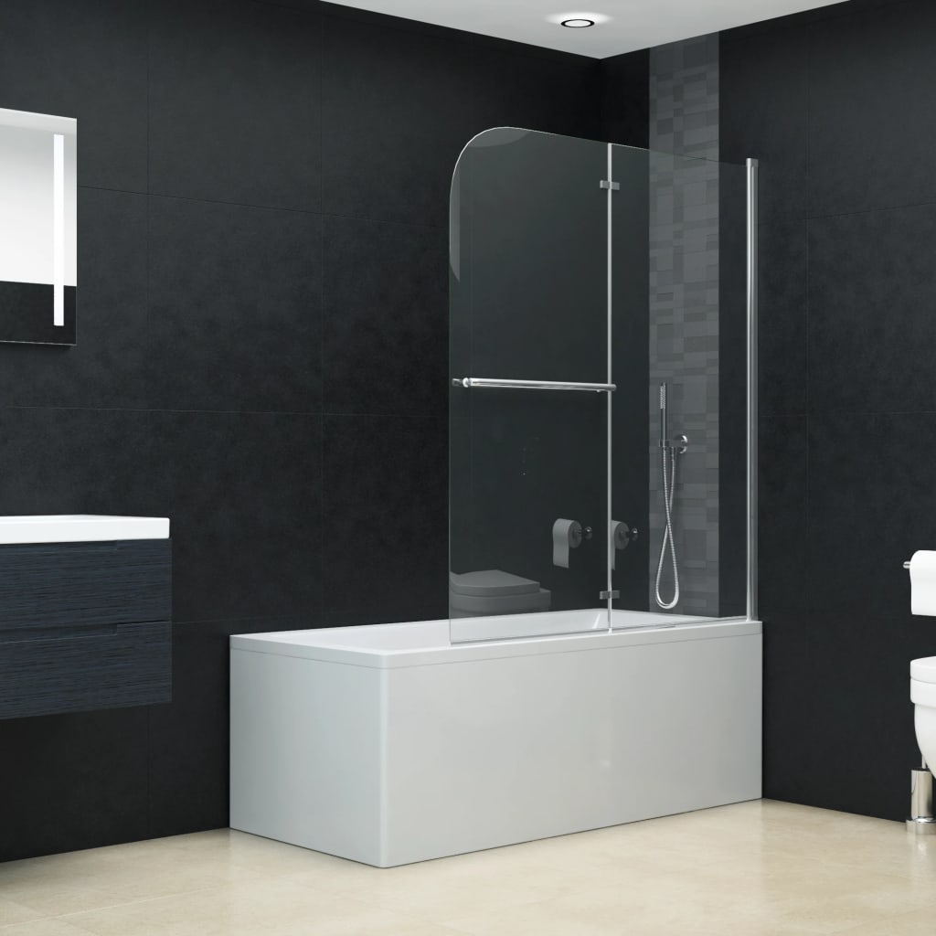 vidaXL Skladací sprchový kút 2 panely 95x140 cm ESG