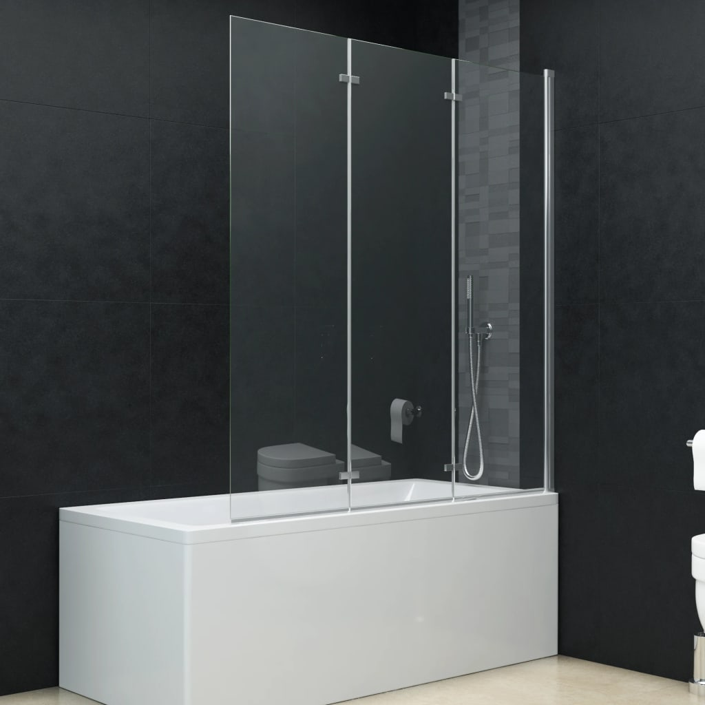 vidaXL Skladací sprchový kút 3 panely 130x138 cm ESG
