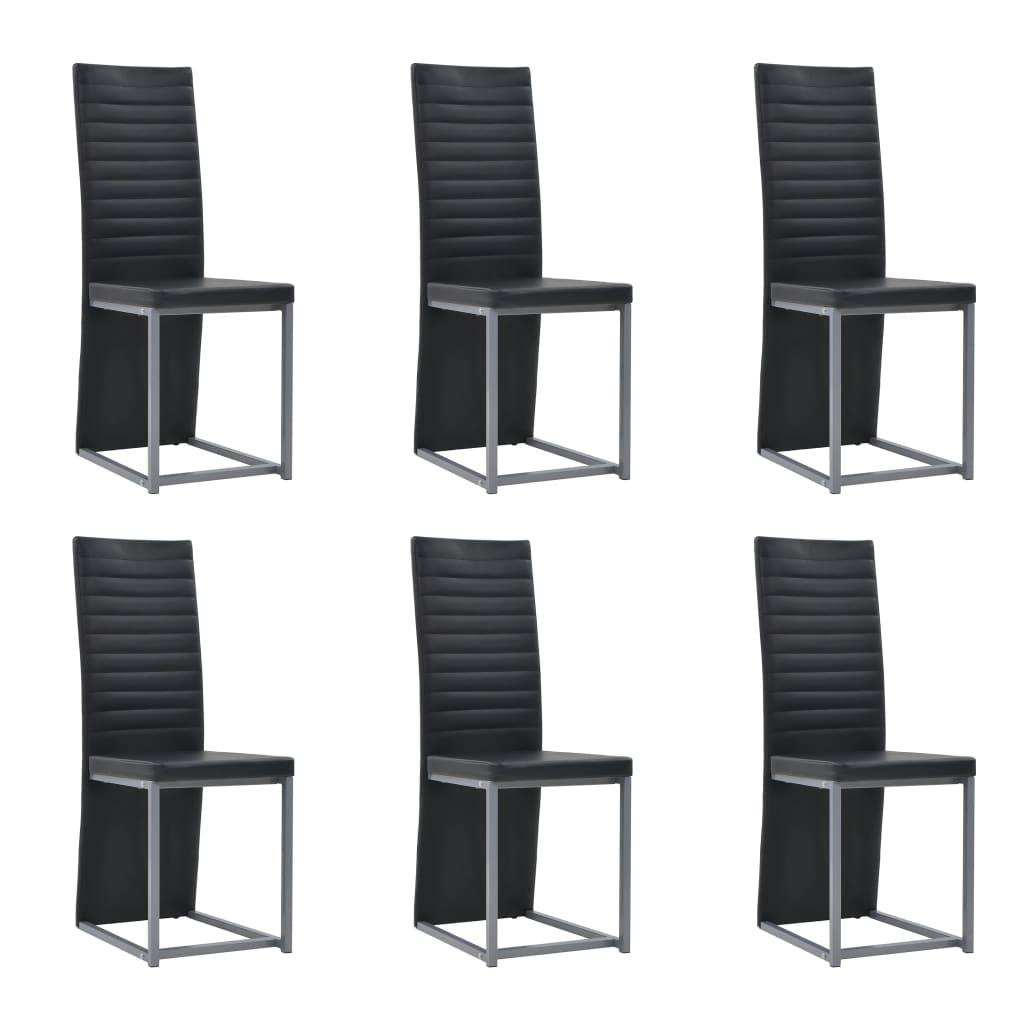vidaXL Jedálenské stoličky 6 ks umelá koža 38,5x52x100,5 cm čierne
