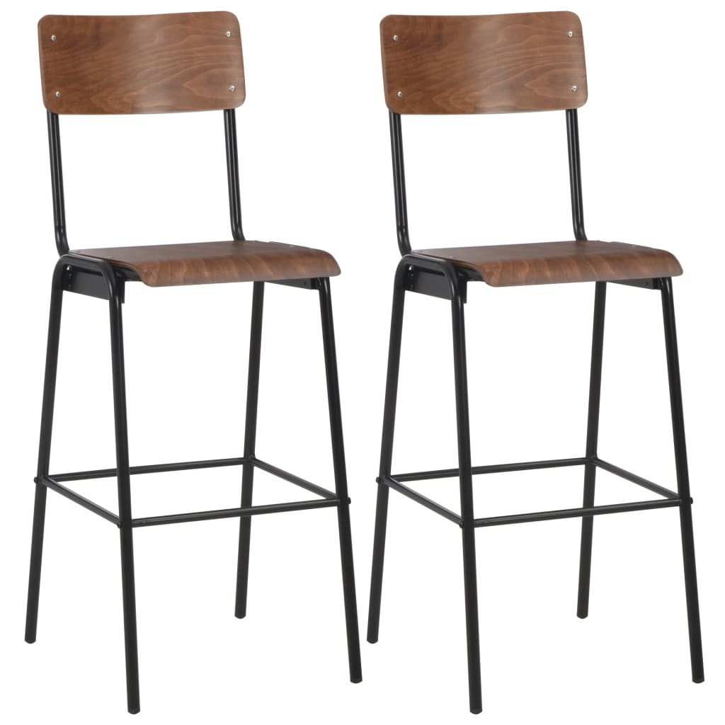 vidaXL Barové stoličky 2 ks hnedé masívna preglejka oceľ