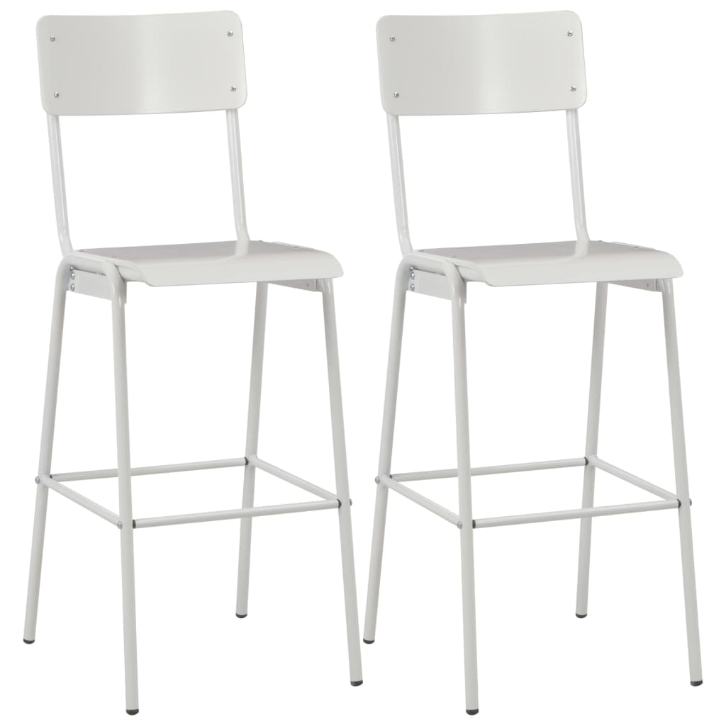 vidaXL Barové stoličky 2 ks biele masívna preglejka a oceľ