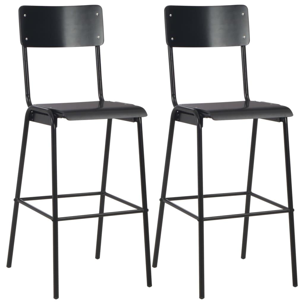 vidaXL Barové stoličky 2 ks čierne masívna preglejka a oceľ