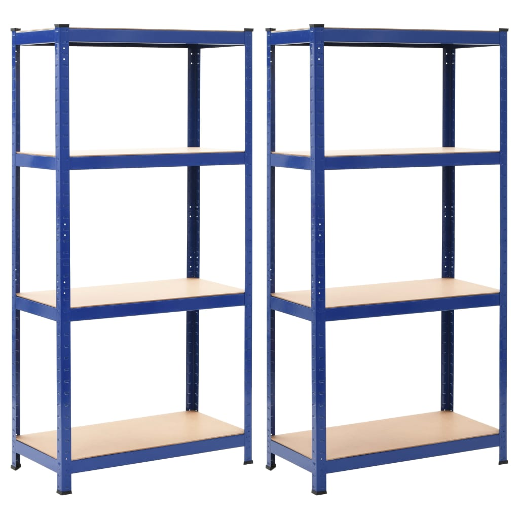 vidaXL Skladovacie regály 2 ks modré 80x40x160 cm oceľ a MDF