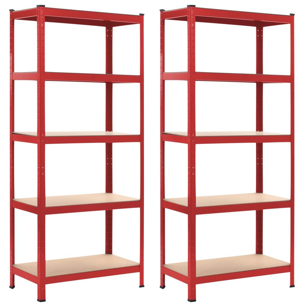 vidaXL Úložné police 2 ks červené 80x40x180 cm oceľ a MDF