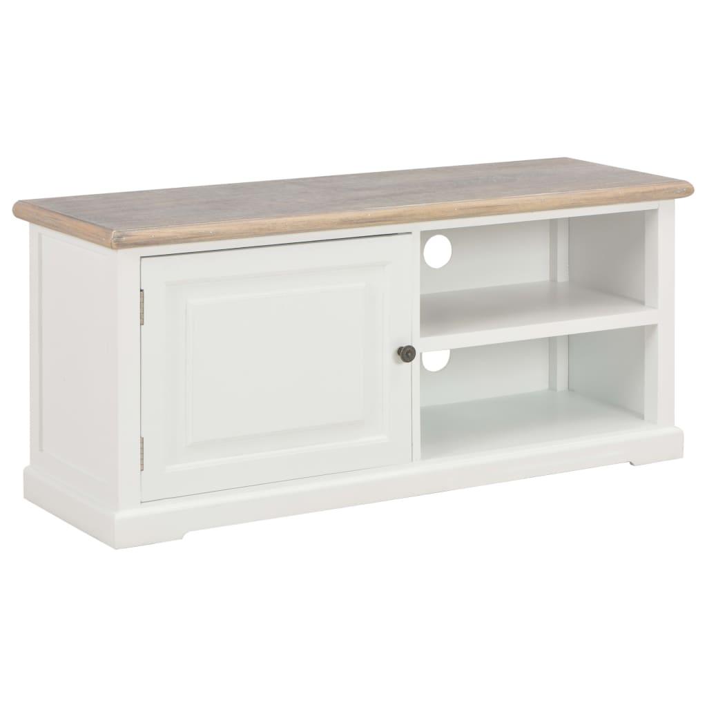 vidaXL TV stolík biely 90x30x40 cm drevený