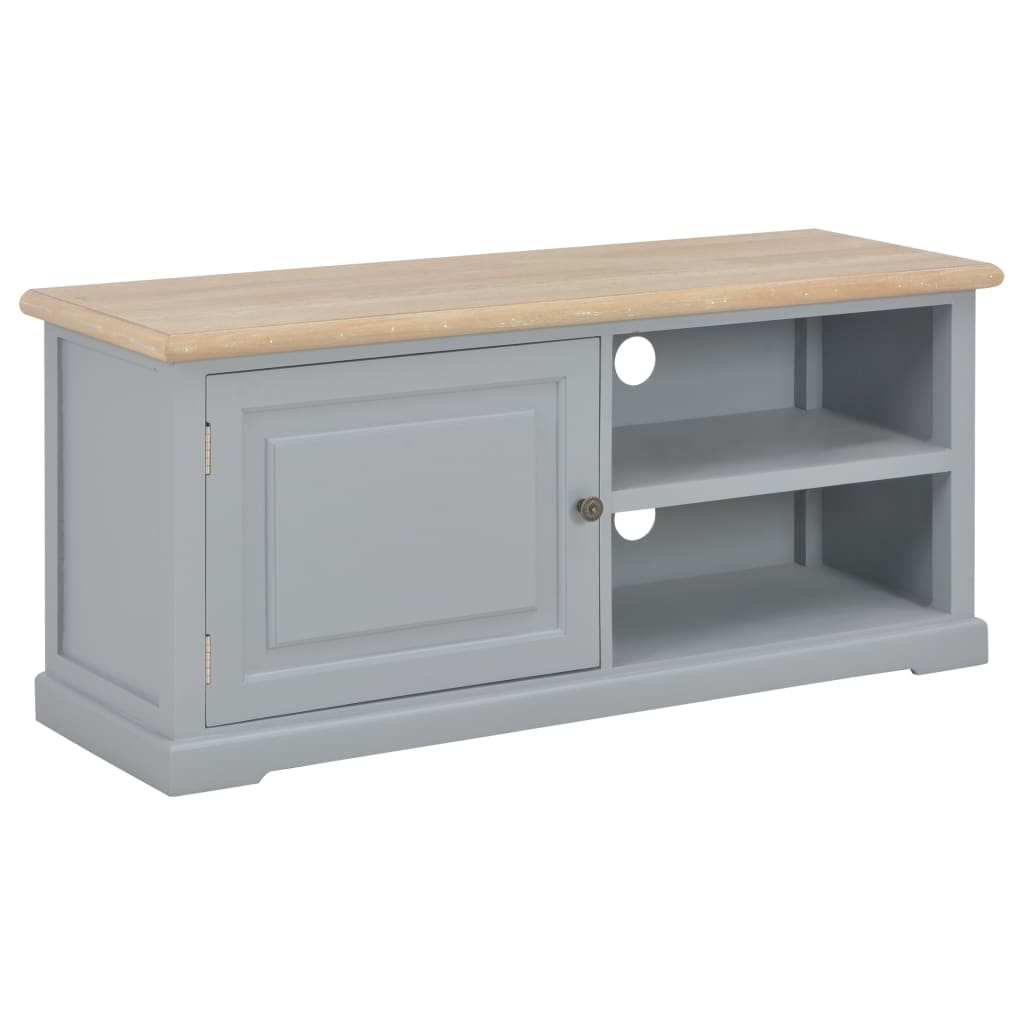 vidaXL TV stolík sivý 90x30x40 cm drevený