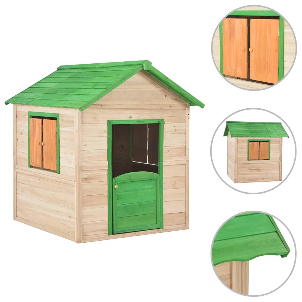 vidaXL Detský domček na hranie drevený zelený