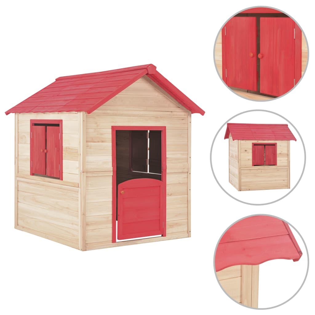 vidaXL Detský drevený domček na hranie červený