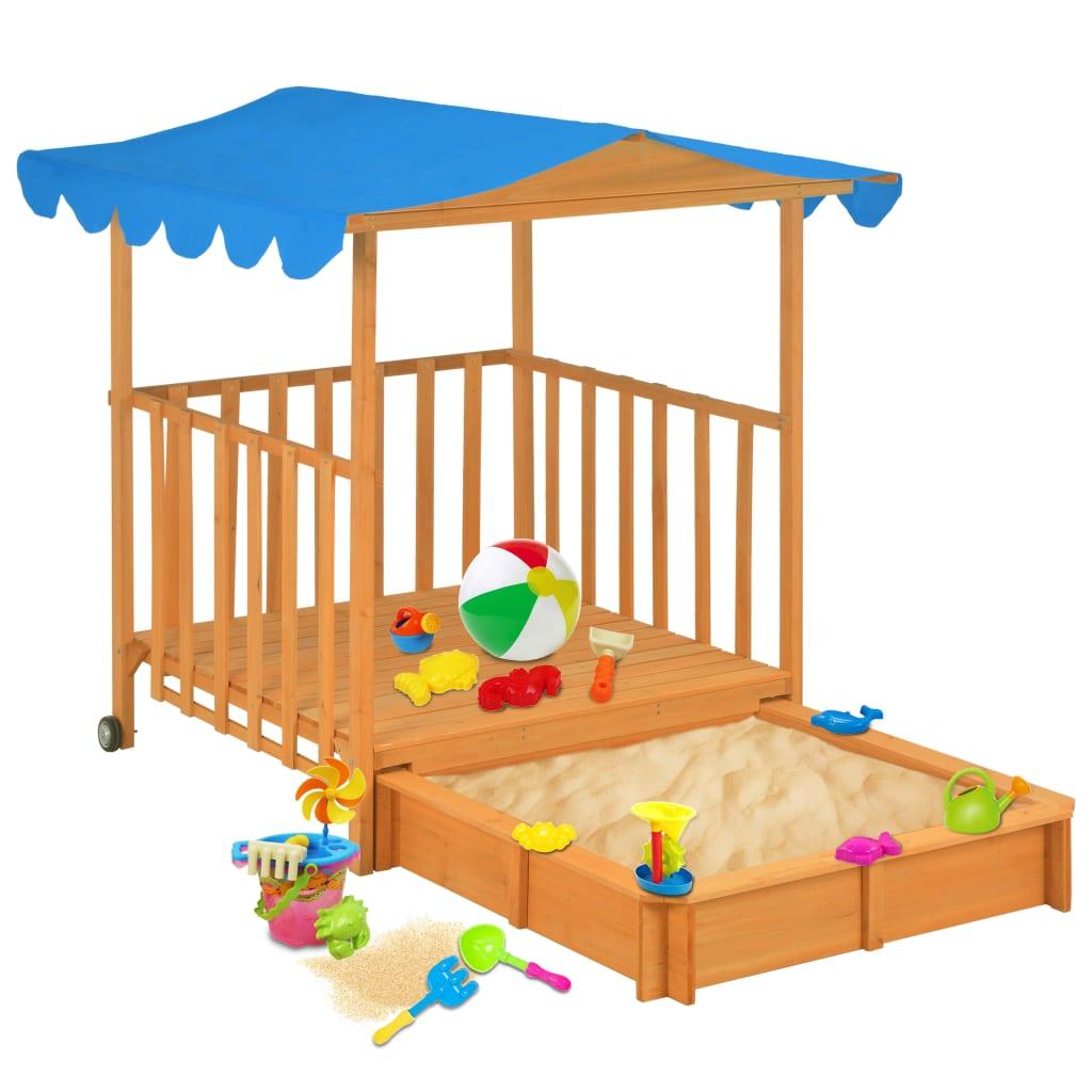 vidaXL Detský domček s pieskoviskom drevený modrý UV50