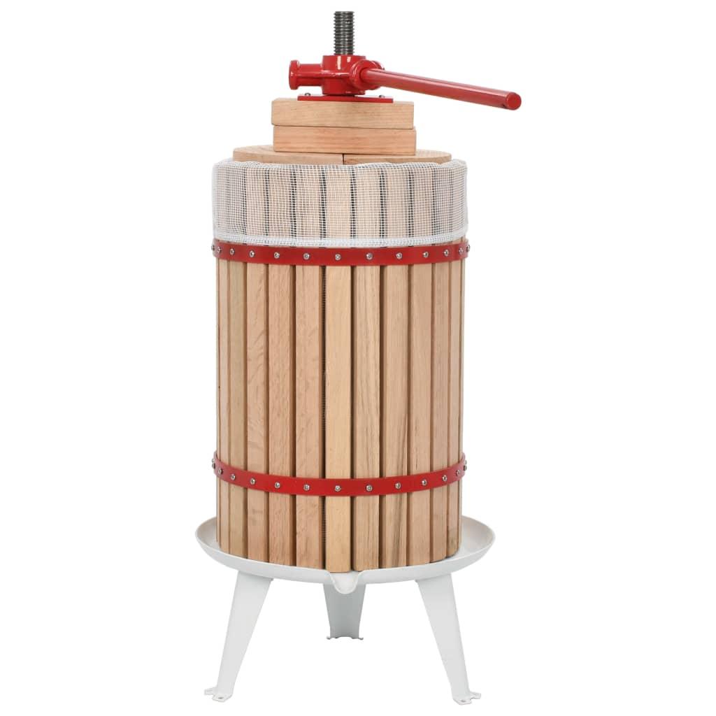vidaXL Lis na ovocie a víno s látkovým vreckom 24 l dubové drevo