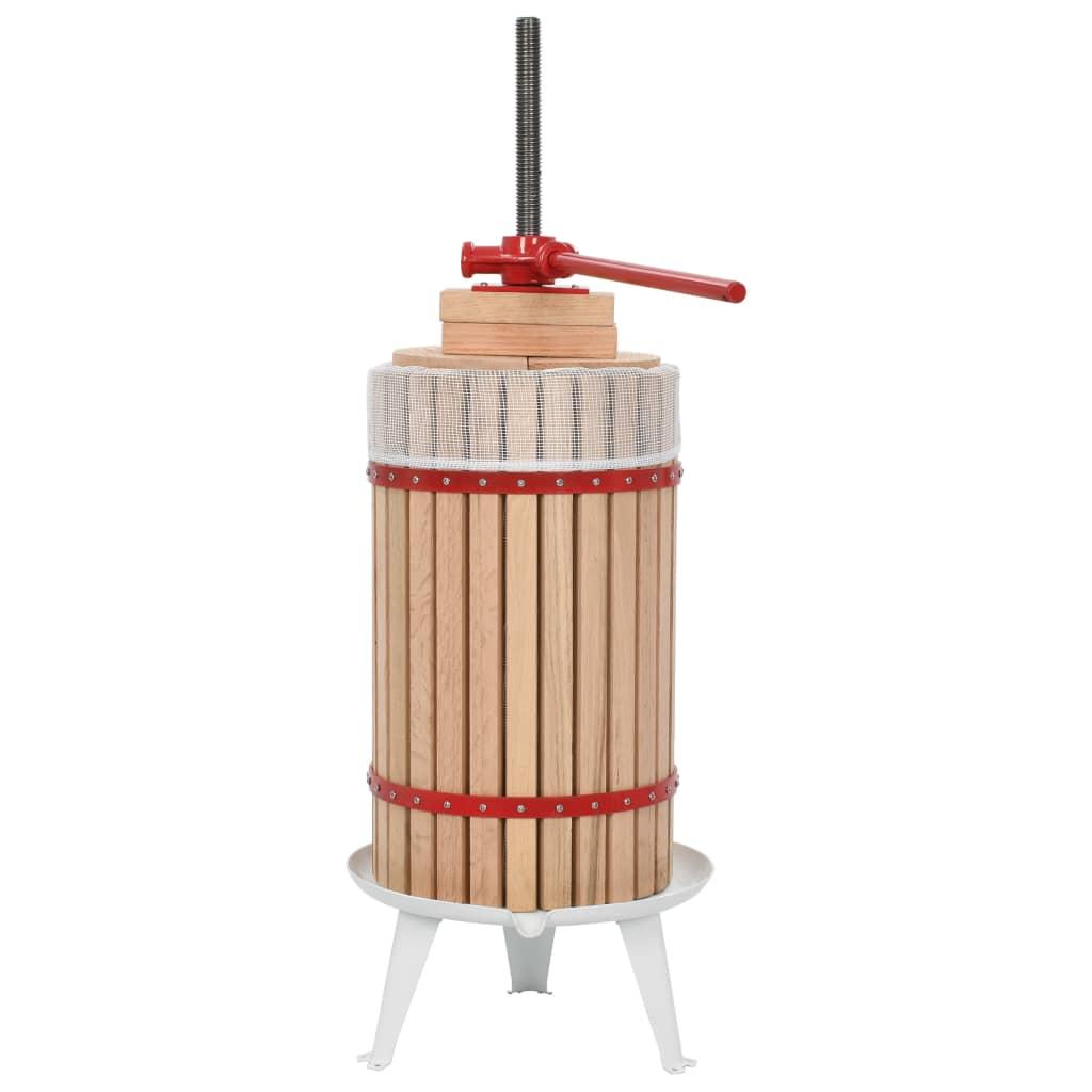 vidaXL Lis na ovocie a víno s látkovým vreckom 30 l dubové drevo