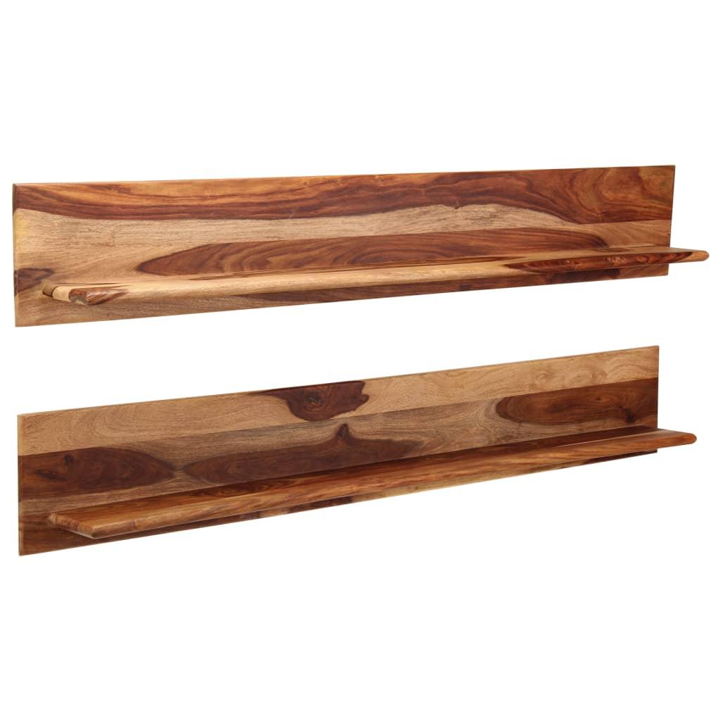 vidaXL Nástenné police 2 ks 169x26x20 cm masívne sheeshamové drevo
