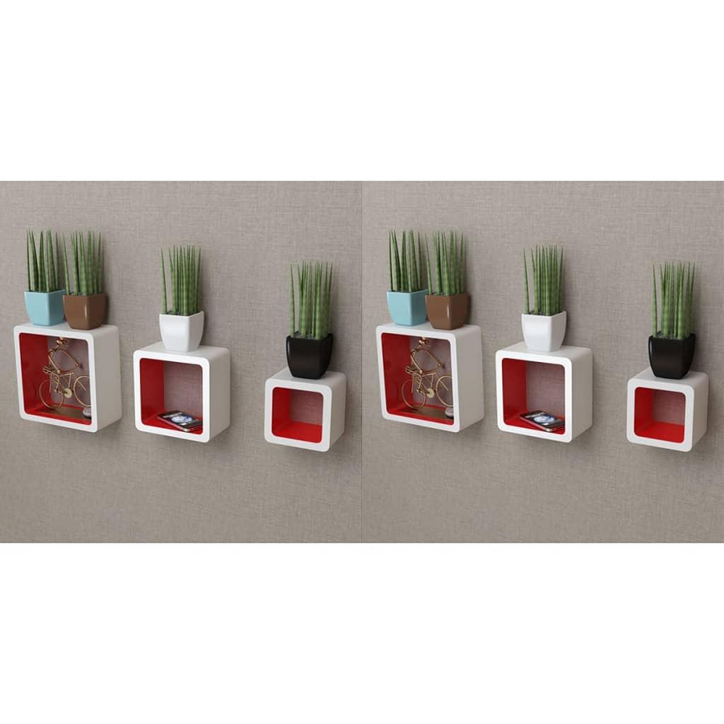 vidaXL Nástenné poličky v tvare kocky 6 ks bielo-červené