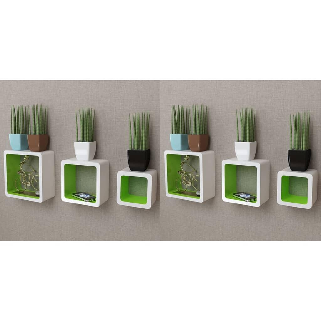 vidaXL Nástenné poličky v tvare kocky 6 ks bielo-zelené