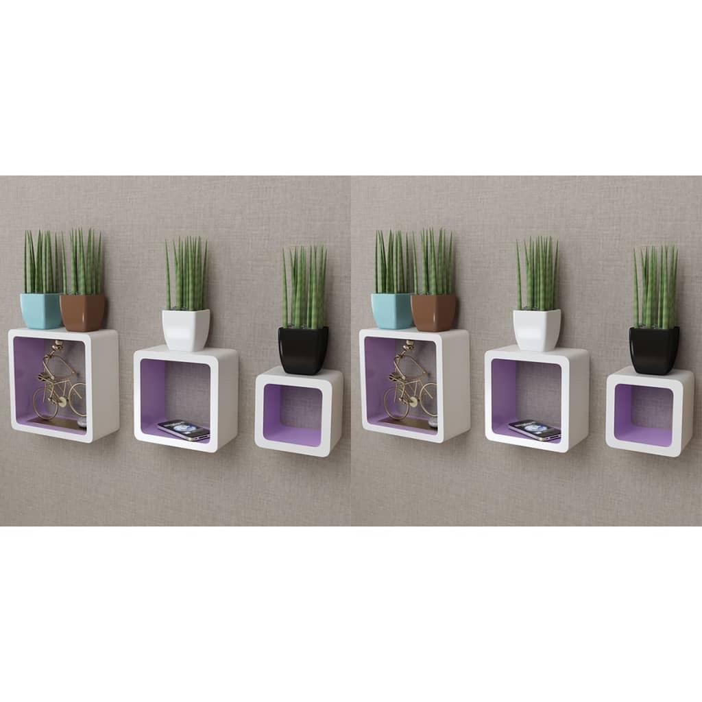 vidaXL Nástenné poličky v tvare kocky 6 ks bielo-purpurové