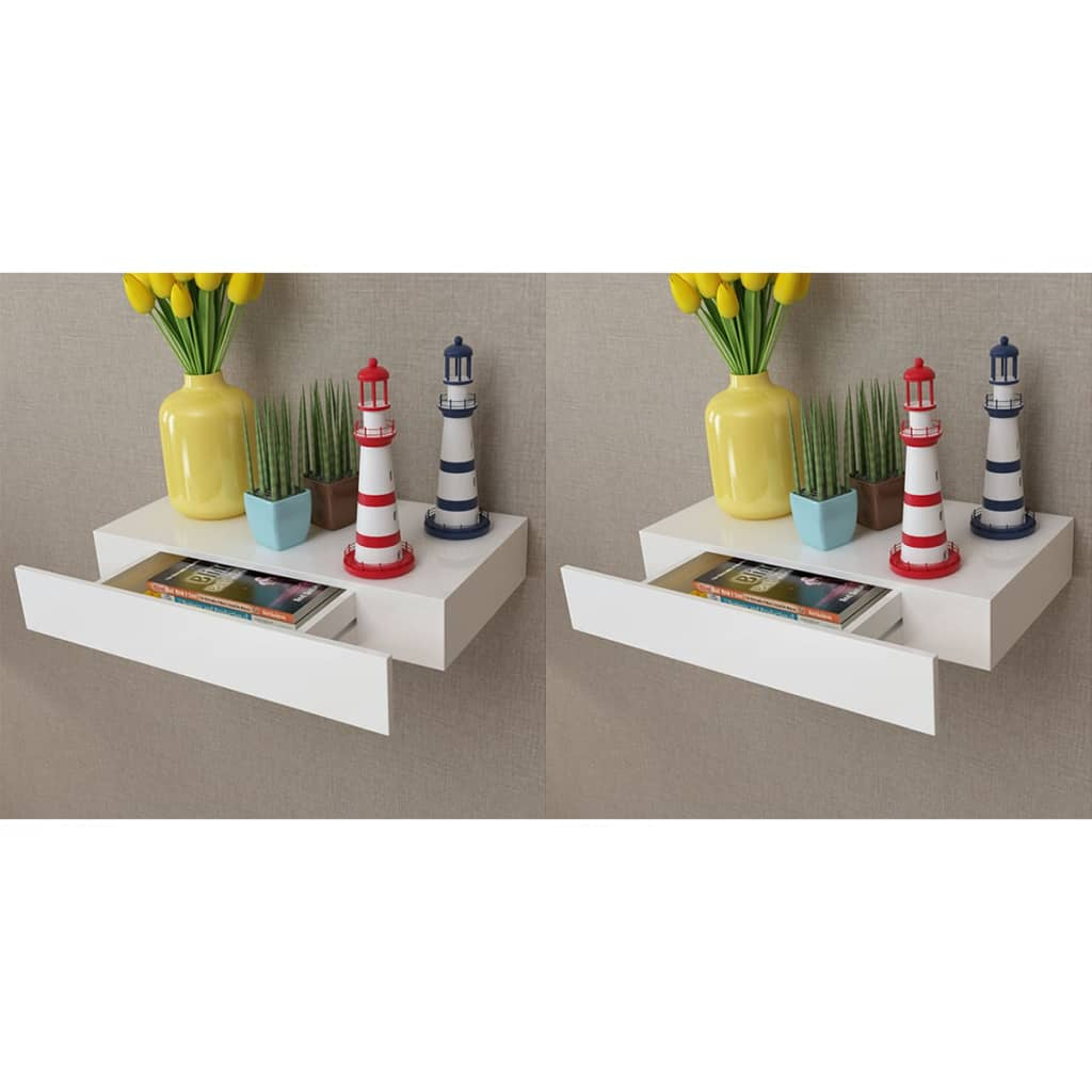 vidaXL Nástenné plávajúce poličky so zásuvkami 2 ks biele 48 cm