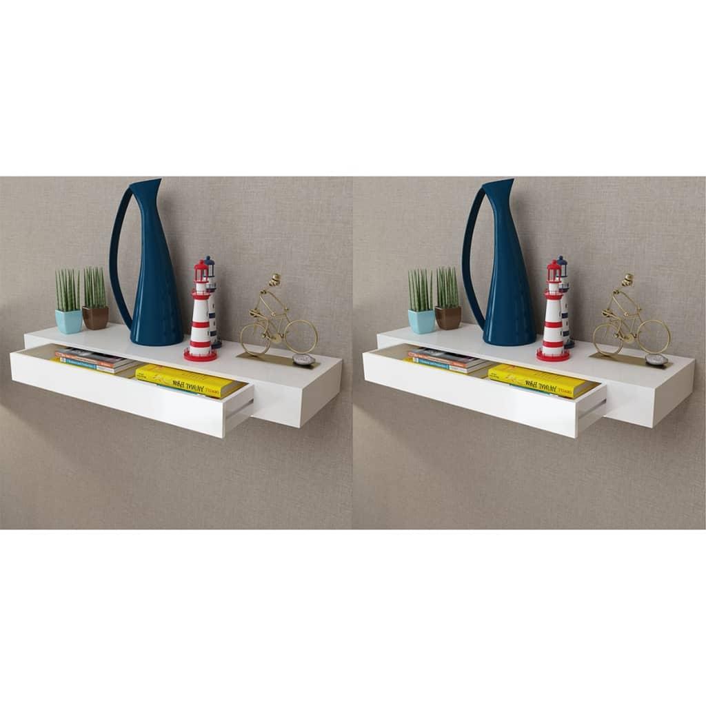 vidaXL Nástenné plávajúce poličky so zásuvkami 2 ks biele 80 cm