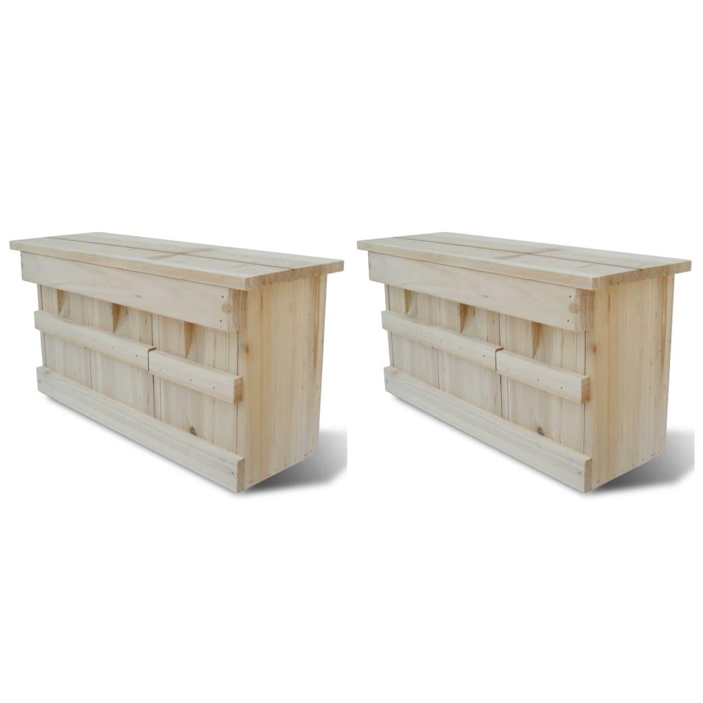 vidaXL Domček pre vrabcov 2 ks drevený 44x15,5x21,5 cm