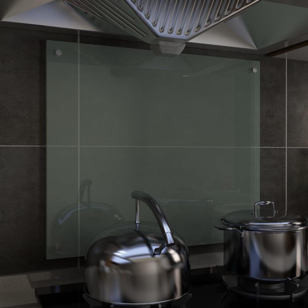 vidaXL Kuchynská zástena, biela 70x60 cm, tvrdené sklo