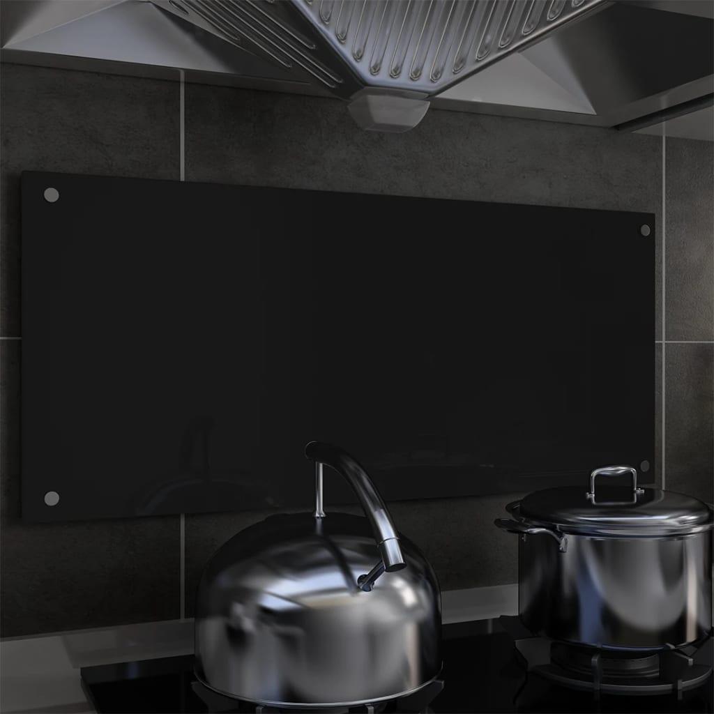 vidaXL Kuchynská zástena, čierna 90x40 cm, tvrdené sklo