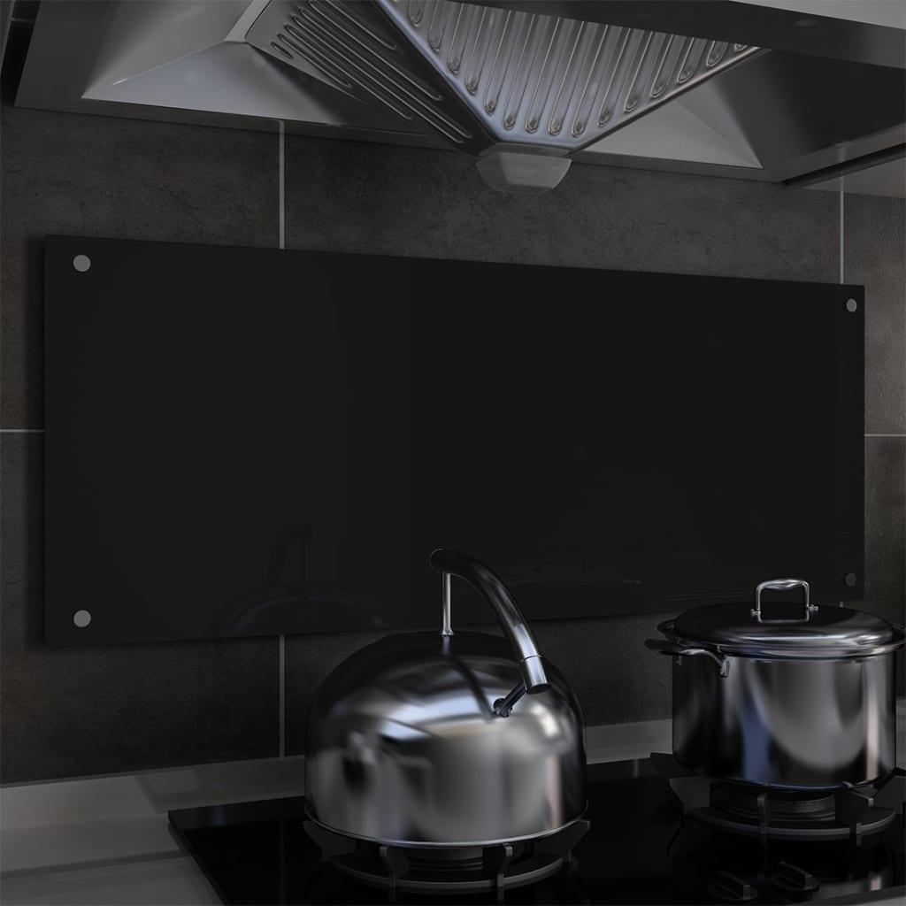 vidaXL Kuchynská zástena, čierna 100x40 cm, tvrdené sklo
