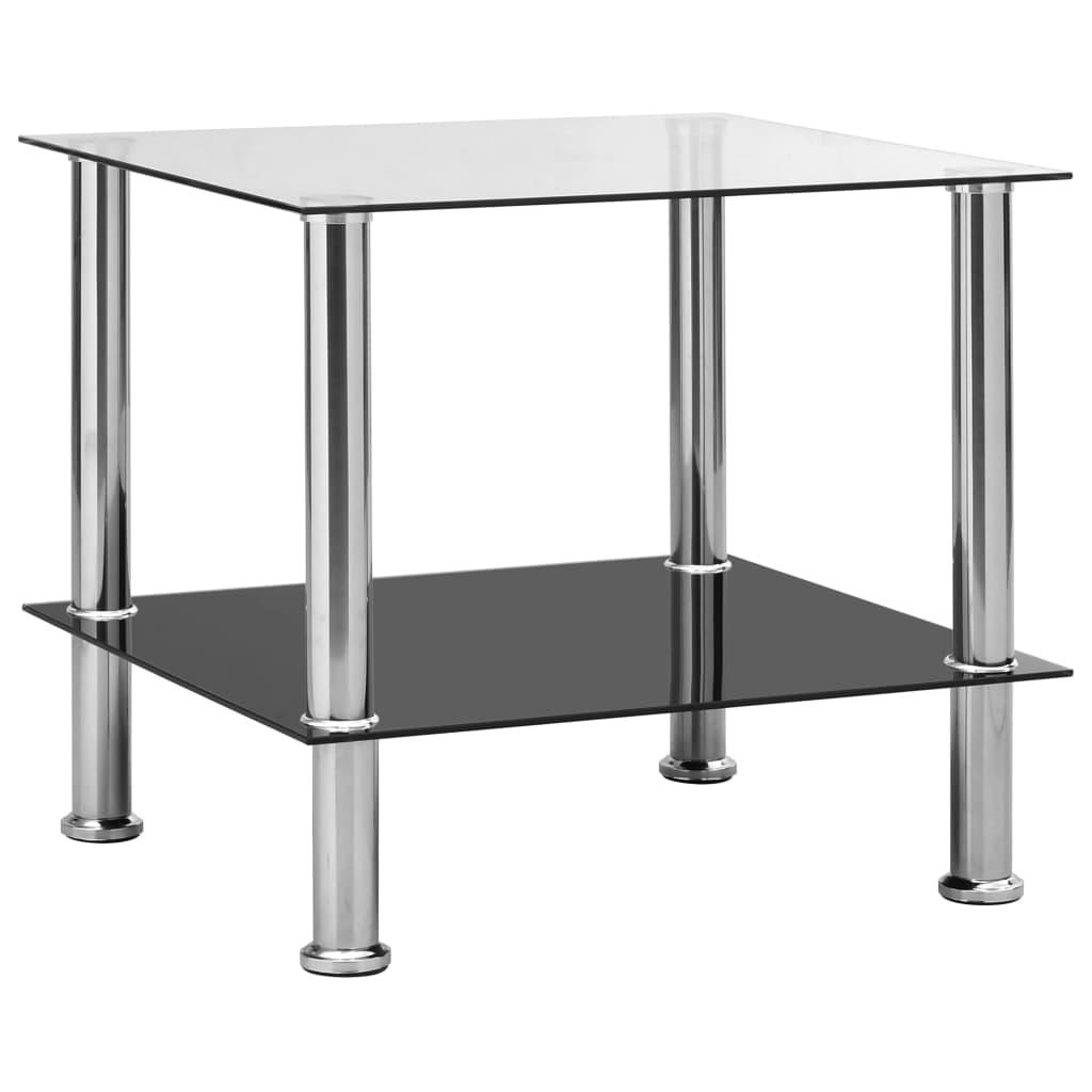 vidaXL Bočný stôl priehľadný 45x50x45 cm tvrdené sklo