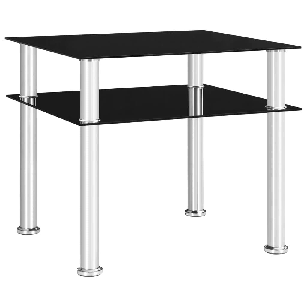 vidaXL Bočný stôl čierny 45x50x45 cm tvrdené sklo