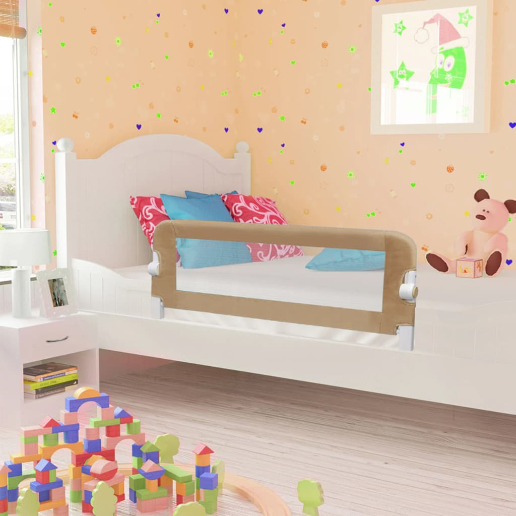 vidaXL Zábrana na detskú posteľ, sivohnedá 102x42 cm, polyester