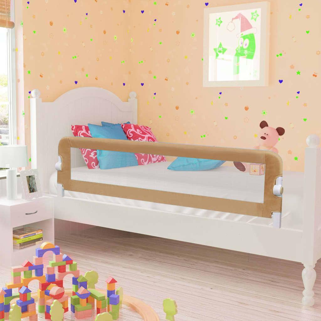 vidaXL Zábrana na detskú posteľ, sivohnedá 150x42 cm, polyester