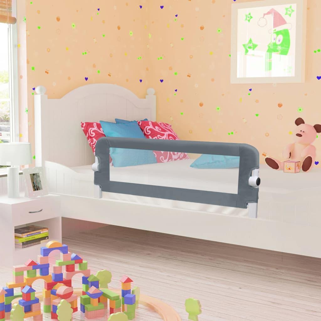 vidaXL Zábrana na detskú posteľ, sivá 102x42 cm, polyester
