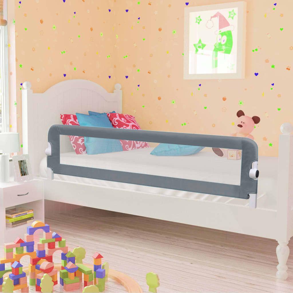 vidaXL Zábrana na detskú posteľ, sivá 150x42 cm, polyester