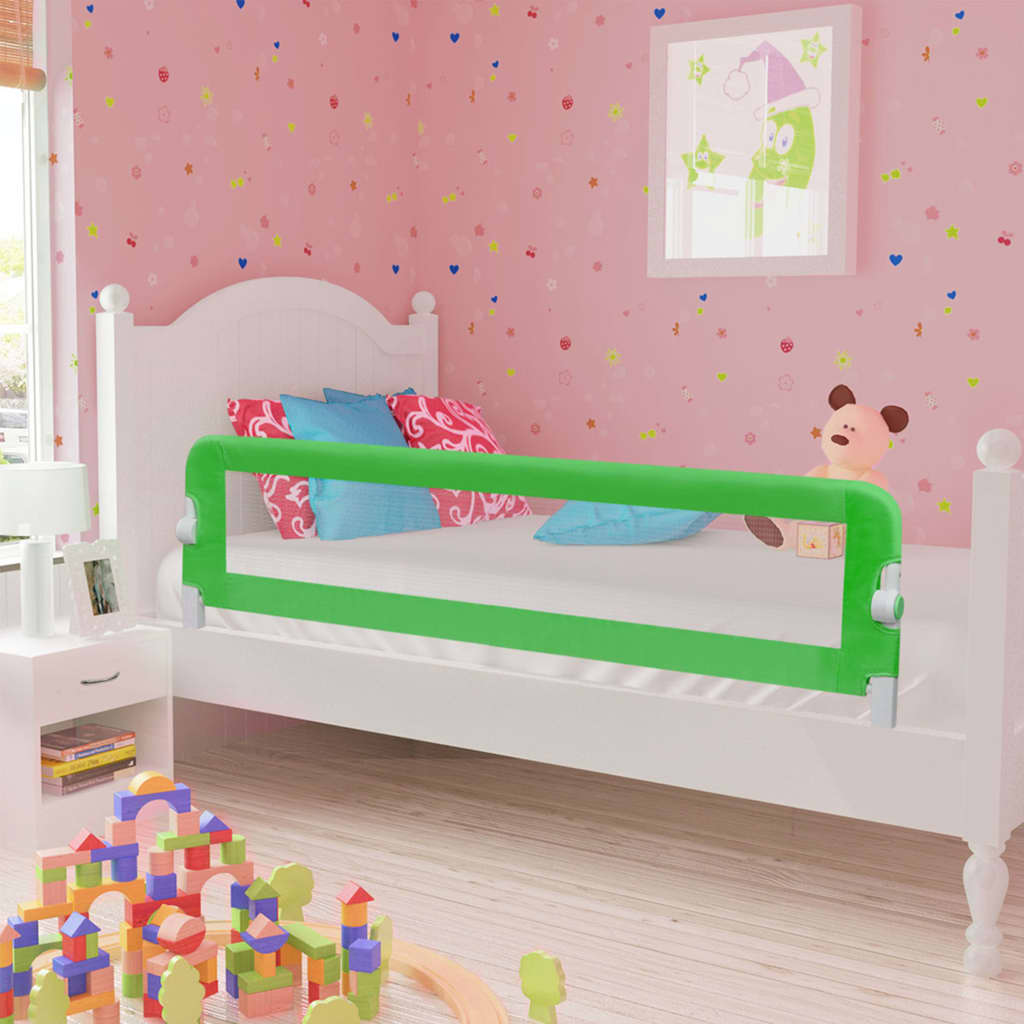 vidaXL Zábrana na detskú posteľ, zelená 120x42 cm, polyester