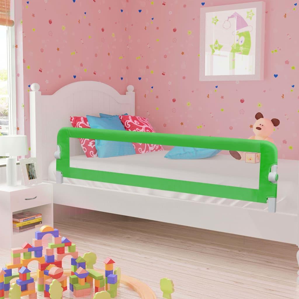 vidaXL Zábrana na detskú posteľ, zelená 180x42 cm, polyester