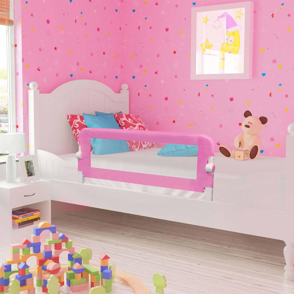 vidaXL Zábrana na detskú posteľ, ružová 120x42 cm, polyester