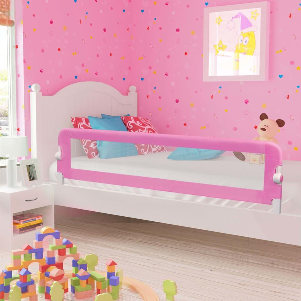 vidaXL Zábrana na detskú posteľ, ružová 180x42 cm, polyester