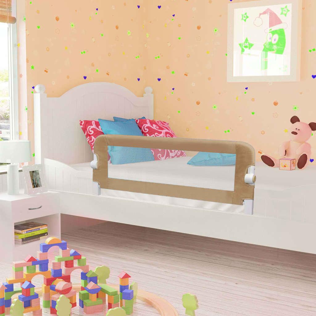 vidaXL Zábrana na detskú posteľ, sivohnedá 120x42 cm, polyester