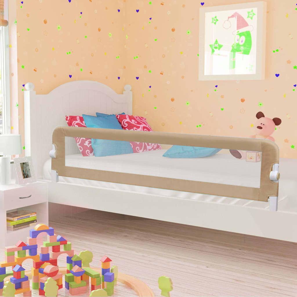 vidaXL Zábrana na detskú posteľ, sivohnedá 180x42 cm, polyester