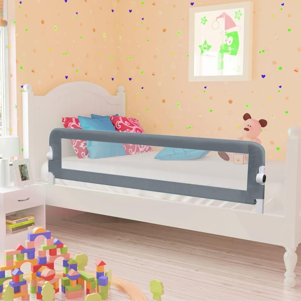 vidaXL Zábrana na detskú posteľ, sivá 120x42 cm, polyester