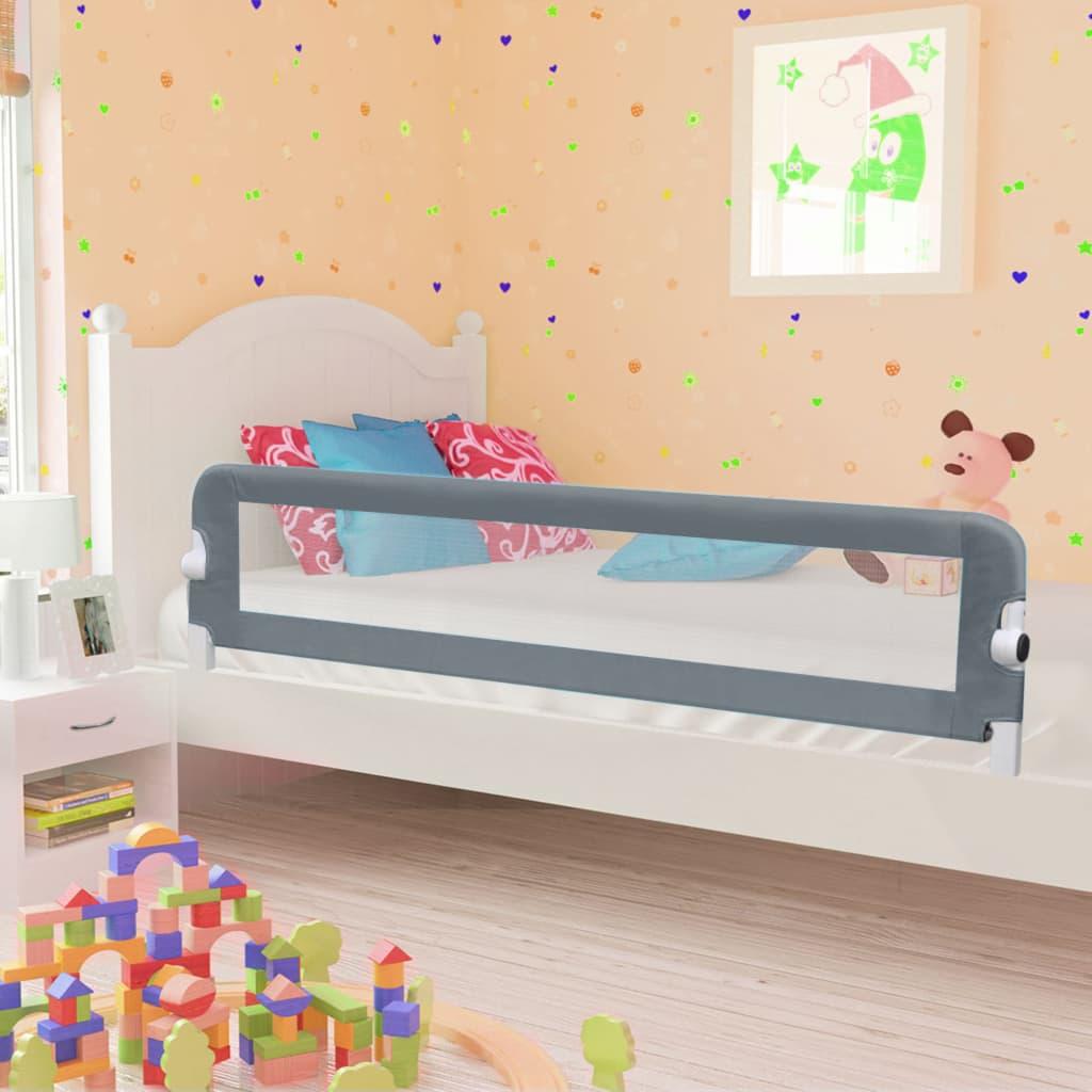 vidaXL Zábrana na detskú posteľ, sivá 180x42 cm, polyester