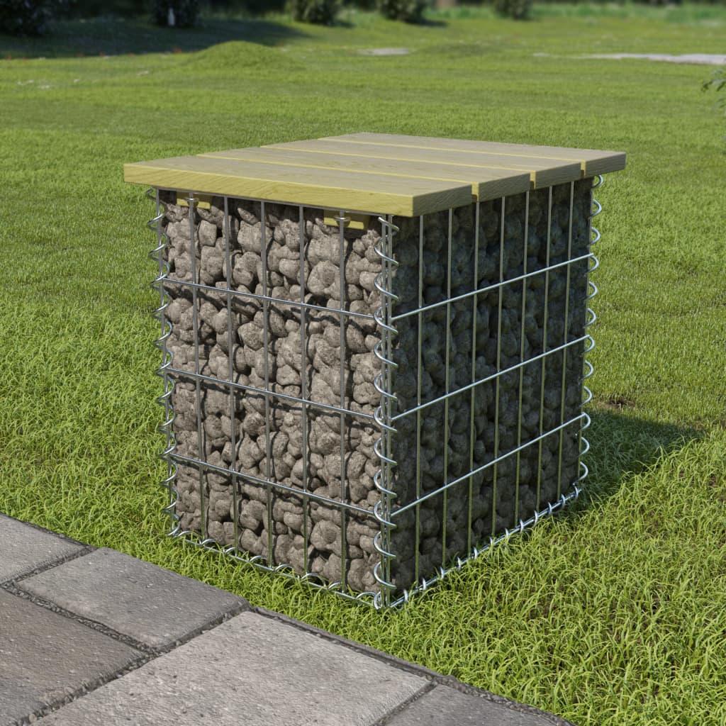vidaXL Gabiónová lavička 40x40x45 cm pozinkovaná oceľ FSC borovicové drevo