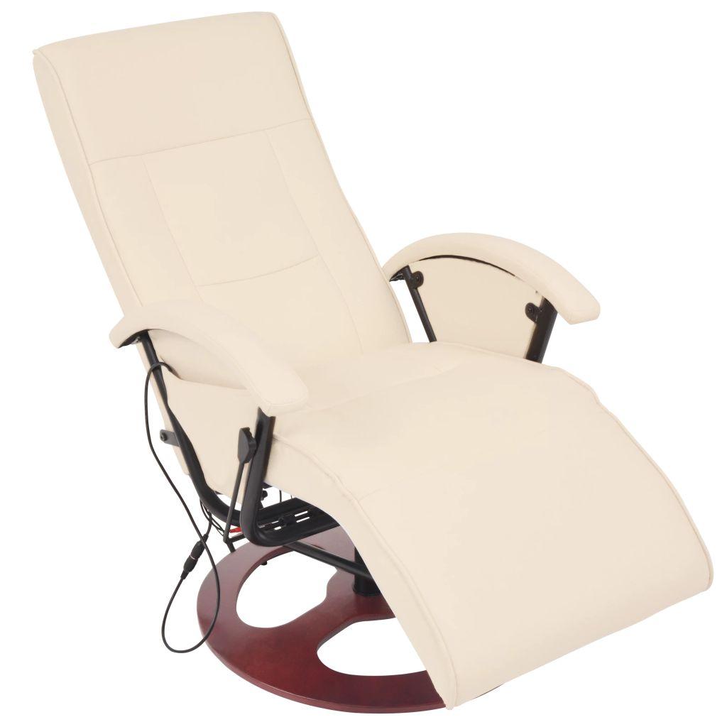 vidaXL Elektrické masážne kreslo z umelej kože, krémovo biele