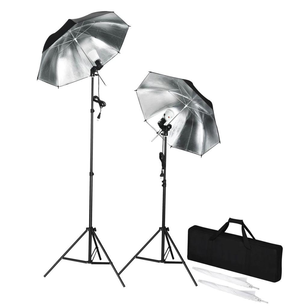 Prenosná súprava štúdiových bleskov so statívmi a dáždnikmi