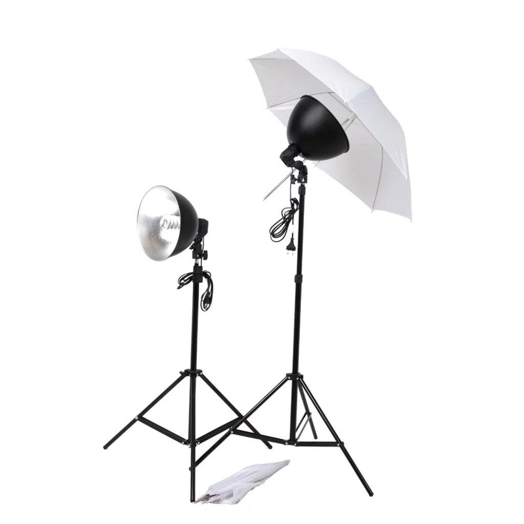 vidaXL Súprava štúdiového osvetlenia: dáždniky, tienidlá a statívy