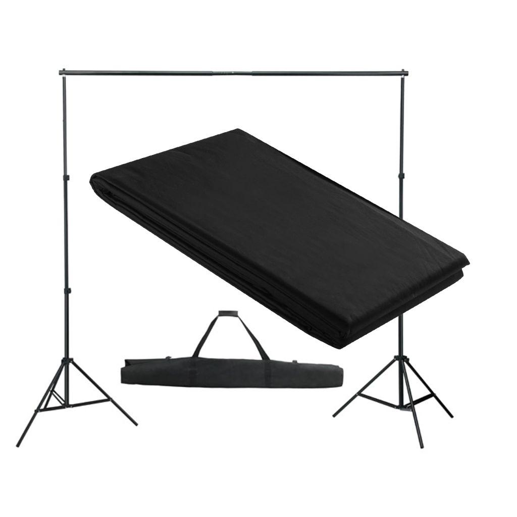 vidaXL Systém na zavesenie fotopozadia 300 x 300 cm, čierne