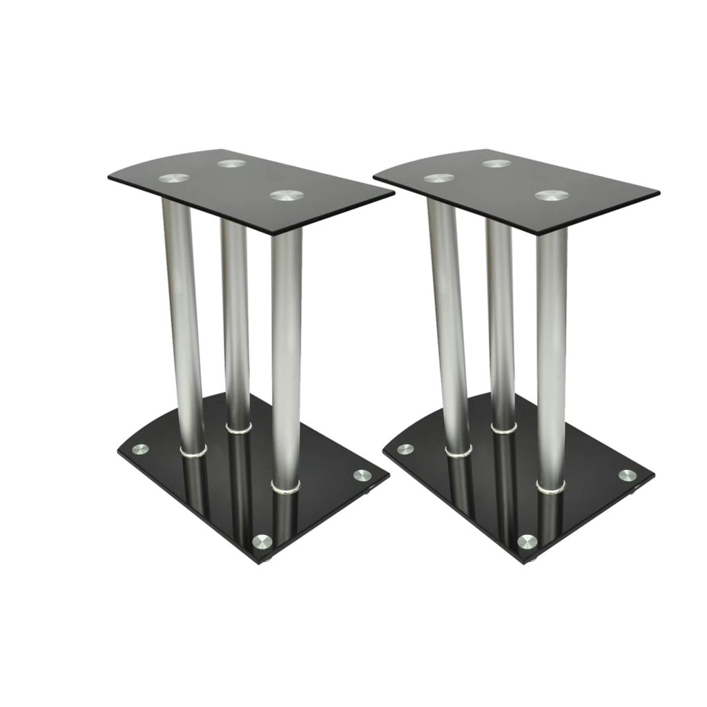 Hliníkové stojany pre reproduktori 2ks Čierne sklo