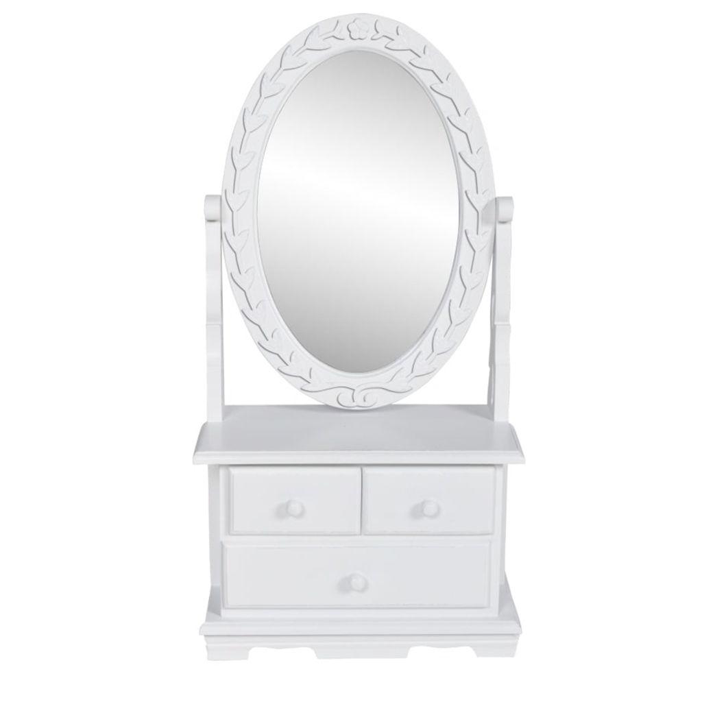 vidaXL Toaletný stolík s oválnym polohovateľným zrkadlom, MDF