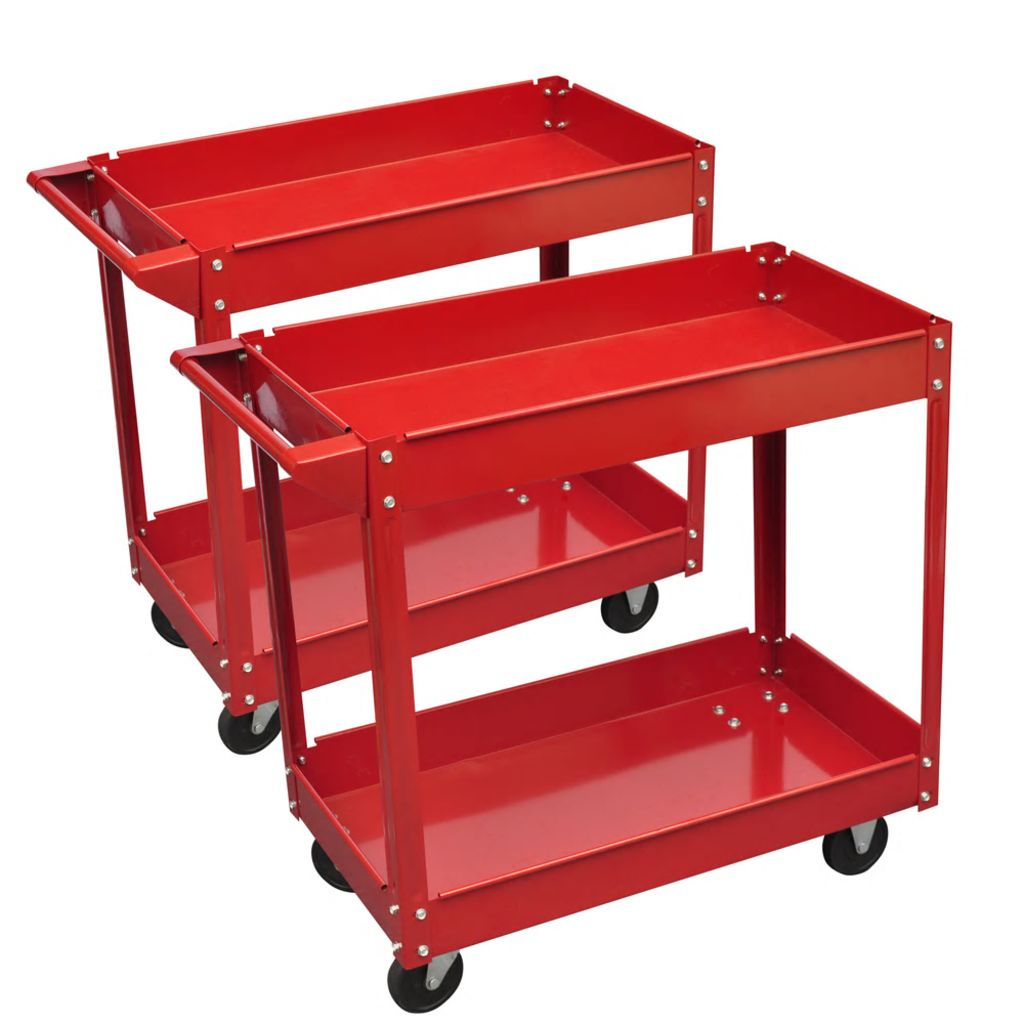 2 x Dielňový vozík pre náradie 100 kg červený
