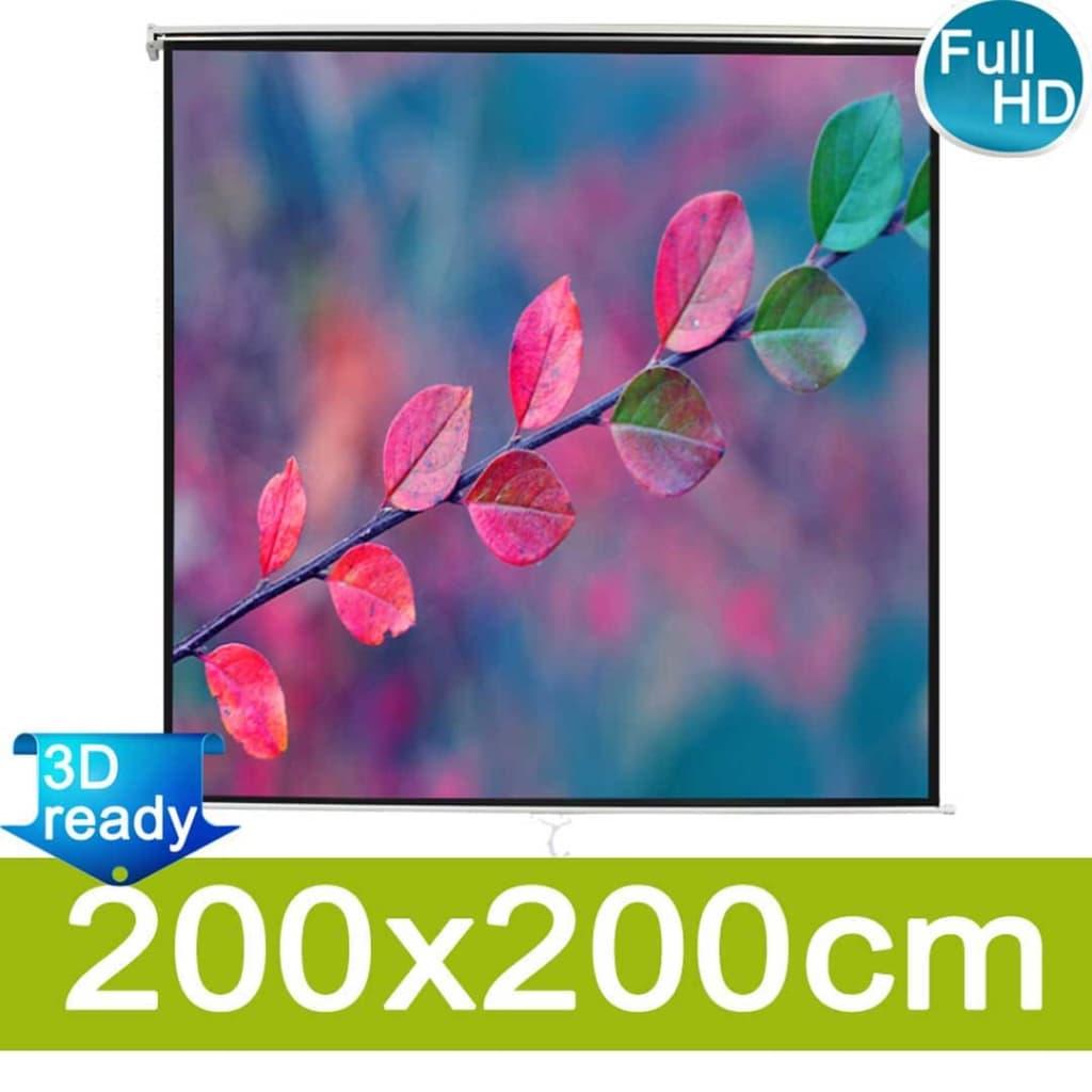 vidaXL Manuálne premietacie plátno 200x200 cm, matná biela